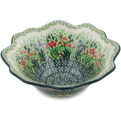 "Polish Pottery Fluted Bowl 8"" Red Garden UNIKAT"