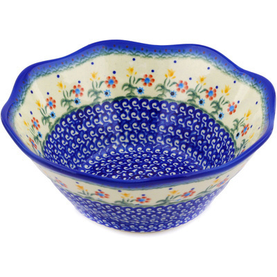"Polish Pottery Fluted Bowl 9"" Spring Flowers"