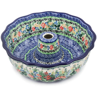 "Polish Pottery Fluted Cake Pan 10"" Home Sweet Home UNIKAT"