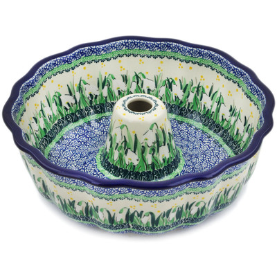 "Polish Pottery Fluted Cake Pan 10"" Snowdrops UNIKAT"