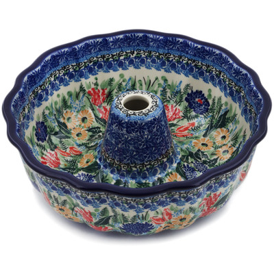 "Polish Pottery Fluted Cake Pan 10"" Splendid Blue Bell UNIKAT"