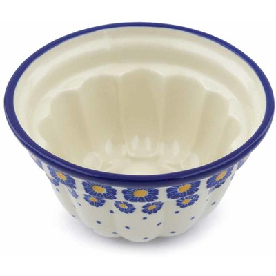 "Polish Pottery Fluted Cake Pan 5"" Blue Zinnia"
