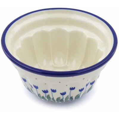 "Polish Pottery Fluted Cake Pan 5"" Water Tulip"