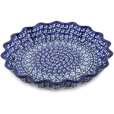 "Polish Pottery Fluted Pie Dish 10"" Blue Diamond Dream"
