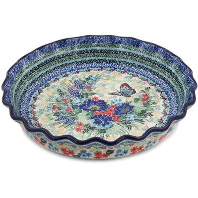 "Polish Pottery Fluted Pie Dish 10"" Blue Monarch Meadow UNIKAT"