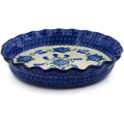 "Polish Pottery Fluted Pie Dish 10"" Blue Poppies"