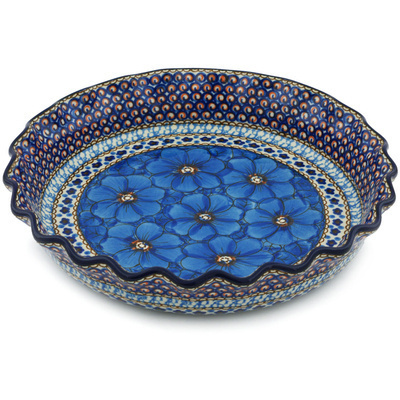 "Polish Pottery Fluted Pie Dish 10"" Blue Poppies UNIKAT"