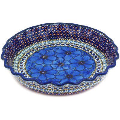 "Polish Pottery Fluted Pie Dish 10"" Cobalt Poppies UNIKAT"