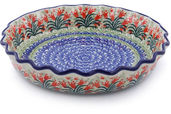 Polish Pottery Fluted Pie Dish 10 Crimson Bells