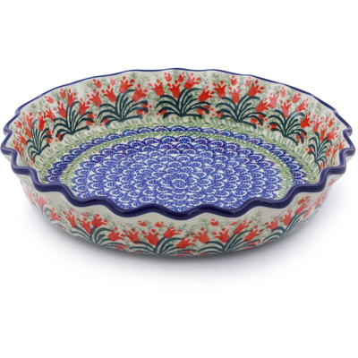 "Polish Pottery Fluted Pie Dish 10"" Crimson Bells"