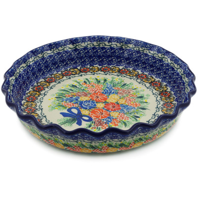 "Polish Pottery Fluted Pie Dish 10"" Glorious Bouquet UNIKAT"