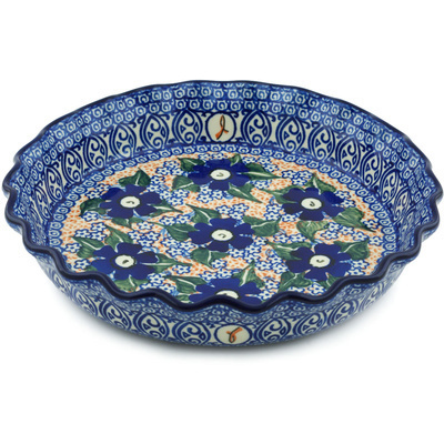 "Polish Pottery Fluted Pie Dish 10"" Hope Flower UNIKAT"