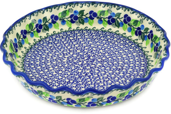 Polish Pottery Fluted Pie Dish 10 Limeberry