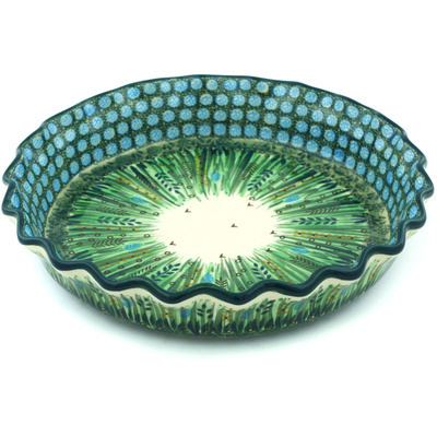 "Polish Pottery Fluted Pie Dish 10"" Prairie Land UNIKAT"
