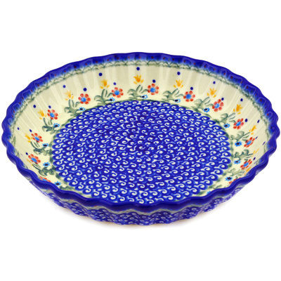 "Polish Pottery Fluted Pie Dish 10"" Spring Flowers"