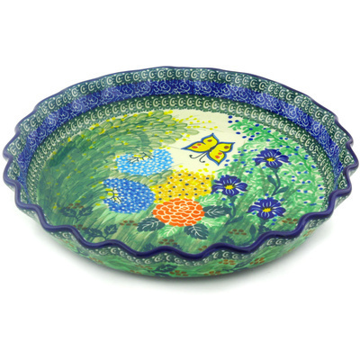 "Polish Pottery Fluted Pie Dish 10"" Spring Garden UNIKAT"