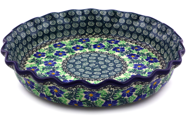 Polish Pottery Fluted Pie Dish 10 Swirling Emeralds