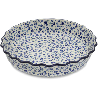 "Polish Pottery Fluted Pie Dish 11"" Blue Confetti"