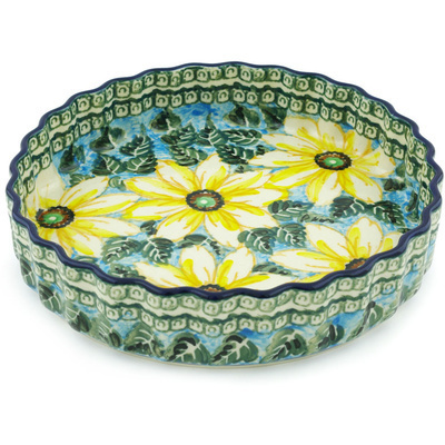 "Polish Pottery Fluted Pie Dish 8"" Black Eyed Susan UNIKAT"
