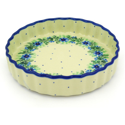 "Polish Pottery Fluted Pie Dish 8"" Blue Bell Wreath"