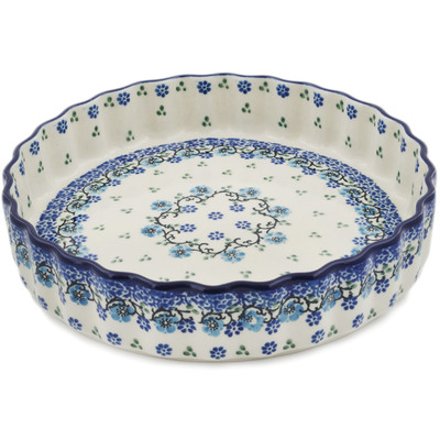 "Polish Pottery Fluted Pie Dish 8"" Blue Flowers Harmony"