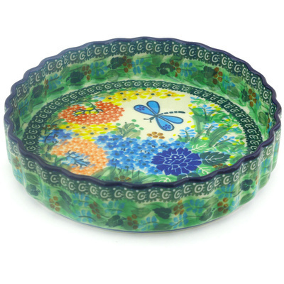 "Polish Pottery Fluted Pie Dish 8"" Garden Delight UNIKAT"