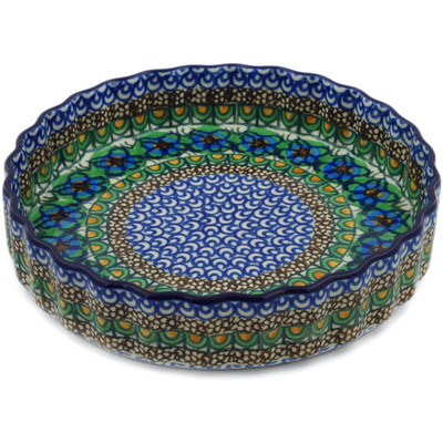 "Polish Pottery Fluted Pie Dish 8"" Mardi Gra UNIKAT"