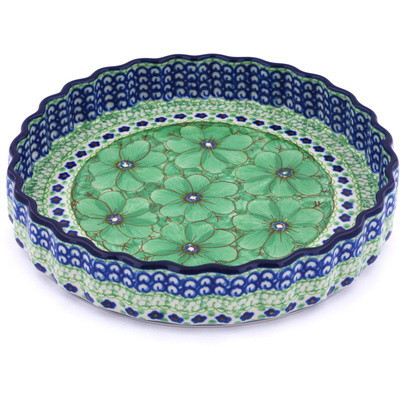 "Polish Pottery Fluted Pie Dish 9"" Key Lime Dreams UNIKAT"
