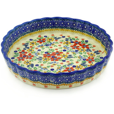 "Polish Pottery Fluted Pie Dish 9"" Ruby Bouquet UNIKAT"