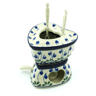 Polish Pottery Fondue Set 12 oz Bleeding Heart Peacock