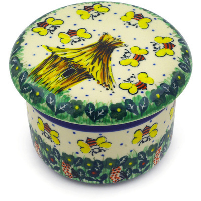 Polish Pottery French Butter Dish Bee Happy UNIKAT
