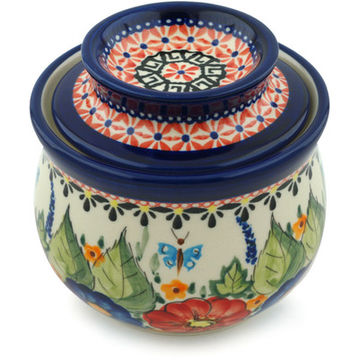 Polish Pottery French Butter Dish Spring Splendor UNIKAT