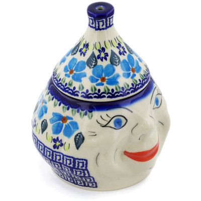 "Polish Pottery Garlic Jar 7"" Pansy Morning"