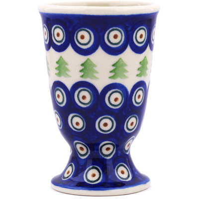Polish Pottery Goblet 7 oz Peacock Pines