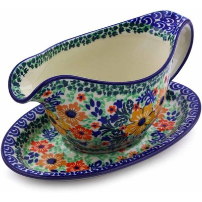 Polish Pottery Gravy Boat with Saucer 16 oz Autumn Splendor UNIKAT
