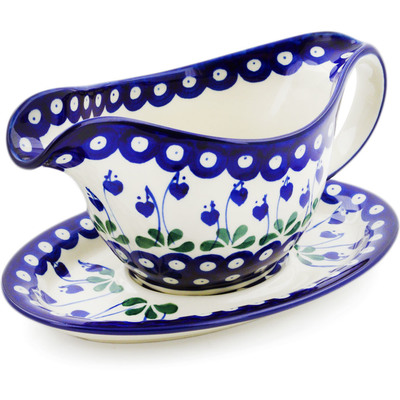 Polish Pottery Gravy Boat with Saucer 16 oz Bleeding Heart Peacock