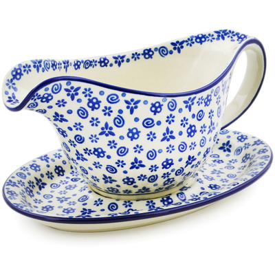 Polish Pottery Gravy Boat with Saucer 16 oz Blue Confetti