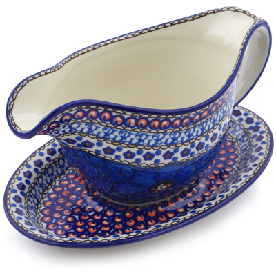 Polish Pottery Gravy Boat with Saucer 16 oz Cobalt Poppies UNIKAT