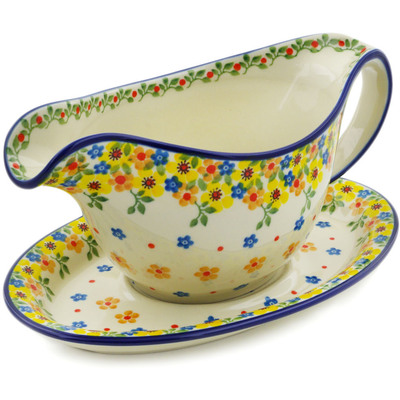 Polish Pottery Gravy Boat with Saucer 16 oz Country Spring