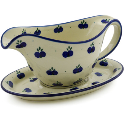 Polish Pottery Gravy Boat with Saucer 16 oz Wild Blueberry