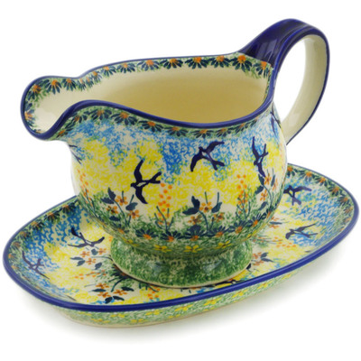 Polish Pottery Gravy Boat with Saucer 19 oz Birds In The Sunset UNIKAT