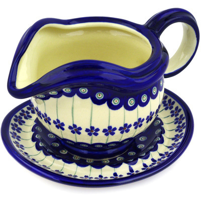 Polish Pottery Gravy Boat with Saucer 22 oz Flowering Peacock