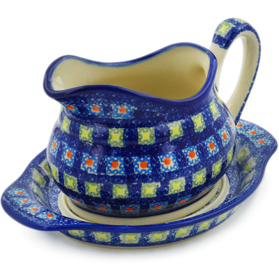 Polish Pottery Gravy Boat with Saucer Mosaic Tile