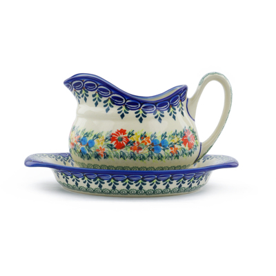 Polish Pottery Gravy Boat with Saucer Ring Of Flowers UNIKAT