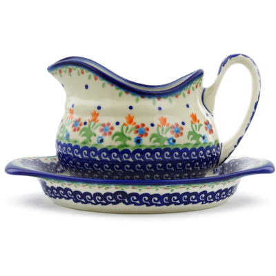 Polish Pottery Gravy Boat with Saucer Spring Flowers