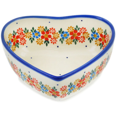 "Polish Pottery Heart Shaped Bowl 5"" Flowers In The Spring UNIKAT"