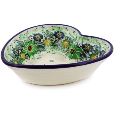 "Polish Pottery Heart Shaped Bowl 6"" Green Wreath UNIKAT"