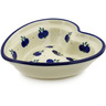 "Polish Pottery Heart Shaped Bowl 6"" Wild Blueberry"