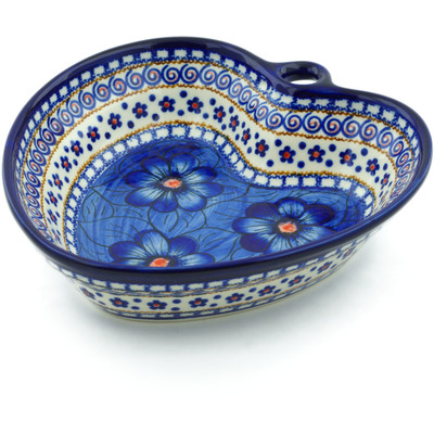 "Polish Pottery Heart Shaped Bowl 8"" Blue Heaven"