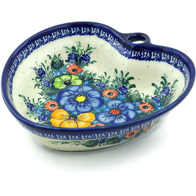 "Polish Pottery Heart Shaped Bowl 8"" Summertime Blues"